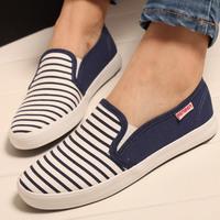 Women color block fashion stripe canvas shoes lazy women's ladies' breathable low flats sneakers shoes