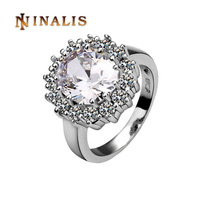 Free Shipping(Min. Order is $10) Top Quality Platinum Plated Big White Zircon Ring 18K Gold Plated Ring, Rhinestone SWA Elements