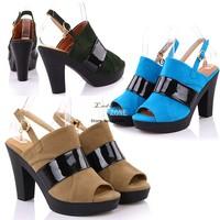 Hot Fashion Woman Girls Sexy High Heel Wedge Peep-toe Platform Pumps Sandals Shoes 3Colors 15609