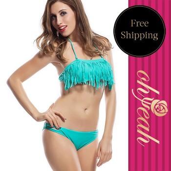 Hot Sale Summer Tassels Bikini Swim Wear Fashion Ladies' Fringed Bandeau Bathing Suit DY30503 2Colors