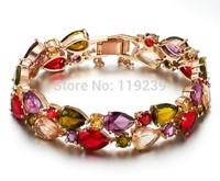 GB1 Mona Lisa Items 18K Rose Gold Plated Multicolor Cubic Zircon Bracelets & Bangles Chunky Statement Jewelry Fashion Bijoux