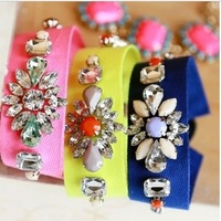 Min.order is $15 (mix order)  2013 vintage hollywood  fabric ribbon tape webbing weaving rhinestone flower fashion bracelet