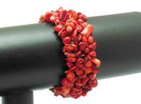 Red Coral Chip Gem stone Beads Bracelet Bangle WBB028