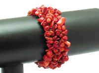 Red Coral Chip Gem stone Beads Bracelet Bangle WBB028