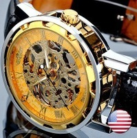 Winner Brand gold dial Hollow Analog Skeleton Mechanical clock black leather Wrist Watch Men Free shipping