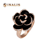 Free Shipping(Min Order is $10) Top Quality Austrian Crystal Black Rose Ring, 18K Gold Plated Ring, Rhinestone SWA Elements