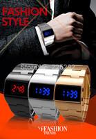 drop shipping 2014 newest hot sales fashion men women watch high-quality Golden stainless steel belt brand quartz wristwatch