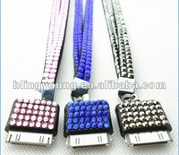 Wholesale 2013 New Arrival Custom Purple Bling Crystal Lanyards Crystal Decorative Neck Lanyard Rhinestone Lanyard for Iphone