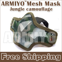 Armiyo New Half Face Metal Steel Mesh Protect Mask Jungle camouflage,Shooting Protective Equipment Fit Airsoft Wargame Activity