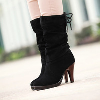 Free Shipping 2013 Newest Fashion Lady 23CM High Boots Promotion Price Quality Leather SHL5093