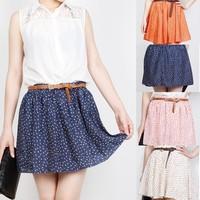 4 Colors Pleated Floral Chiffon Women Ladies Cute Mini Skirt Belt Include W3051