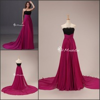 100% Guarantee Free Shipping A-Line Purple Chiffon Beautiful Elegant Evening Gowns Prom Dresses Cheap