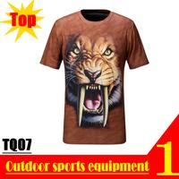 EXCELLENT! TQ07 2013 New Quick Dry 3D Men Short Sleeve Top Saber-toothed Tiger 3D Print T-shirt Plus Size M L XL XXL