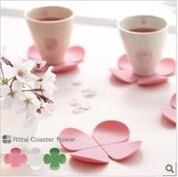 Wholesale 3D 5pcs Flower Shape Anti-hot Silicone Coasters Coffee Tea Cup Ma Pad  Color Random