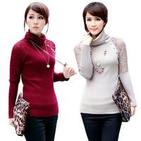 2014 winter autumn Spring sweater women lace turtleneck sweater basic female sweater