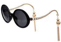 20pcs/lot New tops popular tassel chain Sunglasses female women Brand Designer Round Glasses Gafas wholesale CE oculos 69113