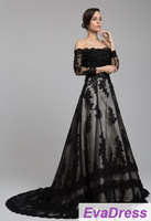 Free Shipping Real Sample Photo 2014 Full Long Sleeves Applique Bride Bridal Dress Lace Couture Vintage Black Wedding Gown