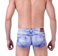 Hot Selling, Fashion 2013 men jeans like underwear box shorts for men, bamboo fiber, boxer