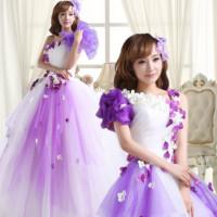 2013 bride long design short sleeve evening dress bride puff skirt formal dress wedding lace dress women purple flower fairy