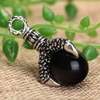 2013 new man Black Stainless Steel Gothic Wicca Dragon's Claw Orb Talisman Pendant  Onyx Alchemy Amulet Jewelry Christmas Gifts