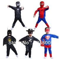 Free shipping Halloween costume,spider man suit spider-man superman batman Zorro Cartoon costume colthes kids Set HY-506038