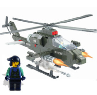 Children assembled building blocks educational toys fight inserted 227 series aircraft helicopter military