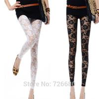 Free Shipping! Hot Fashion 2014 New Women Lady Slim Rose Lace Slim Sexy Leggings Pants 121-0204