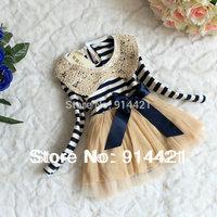 Hot!!2014 fall winter girl's clothes girls chiffon dress,Sequins collar stripe long sleeve lace dress,kids fashion dress