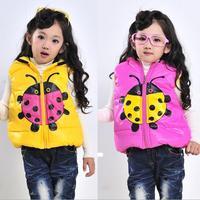 Baby clothing 2013 New warm girls boys children waistcoats beetle kids thickening vest baby coat winter autunm Free shipping!