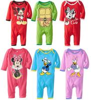 KR001 2014 New baby Mickey rompers Cartoon minnie long sleeves jumpsuits roupas infantil meninas ninja turtle romper