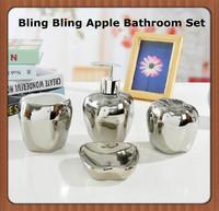 Ceramic Bling Bling Silver And Golden Bathroom Set