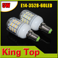 Corn Led 200V-240V E14 3528 60LED LED Spot light E14 5W 3528 SMD 60 LEDs Bulb Lamp Light Spotlight E14 Free Shipping