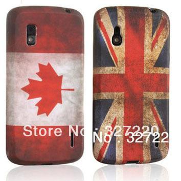 Free Shipping silicone Cover for Google Nexus 4 LG E960 TPU case Etui Gel retro UK flag canada Old Fashion(China (Mainland))