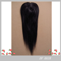 "DF Hair:Cheap 100%Brazilian Remy Human Hair, Silky Straight Machine Frontal Top Closure 4""x4"",Free Style,10""-20"" #1b No shedding"