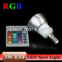 Free Shipping RGB 3W E14 AC85~265V 16Color LED Bulb Light Spot Light LED Light Lamp  with Remote Controller