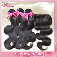 peruvian virgin hair with closure 4pcs human hair lace closure with bundles Best Unprocessed Virgin Hair hair closure