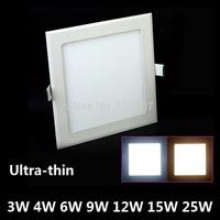 Retail&Wholesale 3W/4W/6W/9W/12W/15W ultrathin led ceiling light white/warm white led panel light free shipping