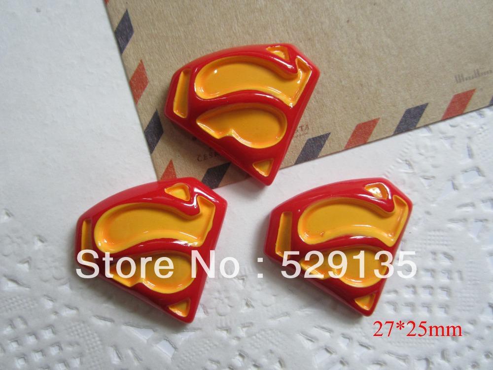 Free Shipping! Min. order is $10 (mix order), Resin Superman Logo, Resin Flat back Cabochon for Hair Bow Center DIY (27*25mm)(China (Mainland))
