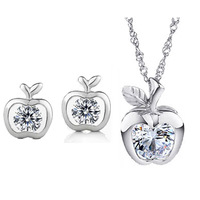 2014 New hot sale Apple Zircon 925 silver jewelry set have s925 mark wholesale price