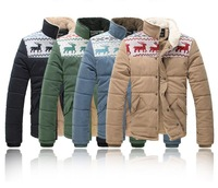 New men's clothing 2013 winter deerlet  cotton-padded clothes coat thickening jacket men lovers coats,free shipping,R1075