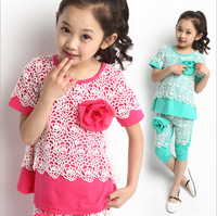 6sets/lot 2014 New summer girl fashion set floral t shirt+capris 2pcs kids casual suit cute fresh child set summer clothing