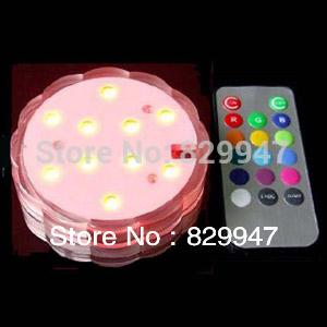 10 LEDs Multi-color Remote Control Submerisible Vase Light(China (Mainland))