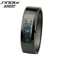 2014 Sinobi Brand Fashion Trendy Watch Women Bohemian Cuff Bracelet Wristwatches Round Alloy Ladies Bracelet Black Watches hours