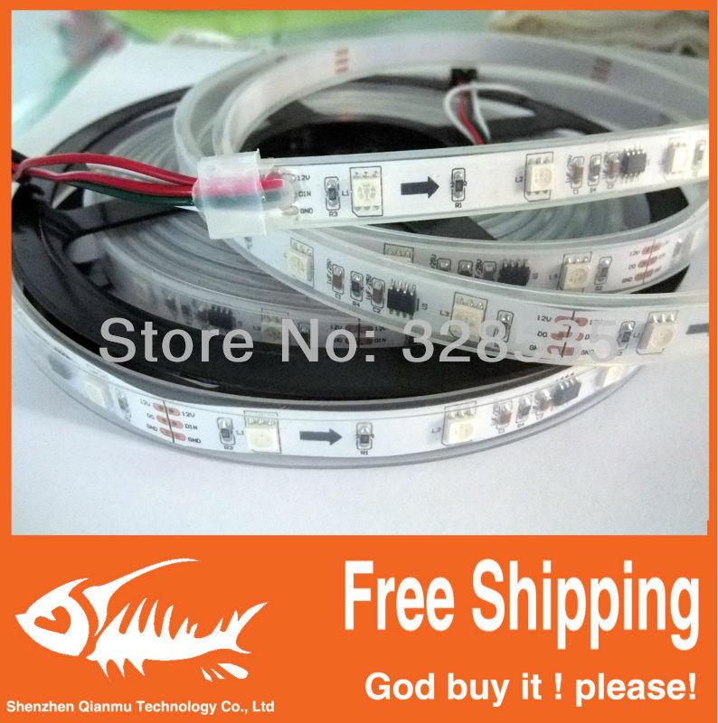5m ws2811 50 ICs 5050 digital RGB Strip,150LED IP67 tube waterproof dream magic color 12V Led Strip