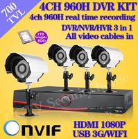 4 channel 700TVL Bullet Outdoor Cameras CCTV video System 4ch HD full 960H recording HDMI 1080P DVR recorder Security Camera kit