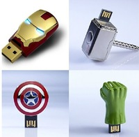 4 pcs/lot New Avengers LED Gold Ironman/American shield/Hulk hand/Thor hammer Usb 2.0 memory flash stick pendrive/gift/car/disk