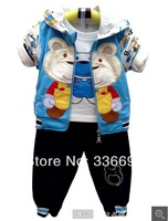 2014 new boys clothing set suits children baby spring 3pcs sets jacket coat+shirt+pant baby clothessets prom