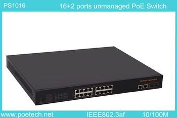 7.2Gbps 16 port poe switch ,IEEE802.3af Satandard