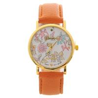18 Style 2014 Geneva Platinum Flower Wuartz Watch For Women Dress Leather Watch Clock Girls Wristwatch Free Shipping C1218