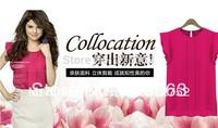 2014 new spring Fashion Women Chiffon Shirts Blouse OL Ladies' Round Collar Short Butterfly Petal Sleeve Ruffles Tops xl blouses